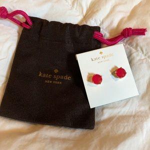 NWT kate spade pink crystal stud earrings